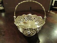 Solid Silver Decorative Small Basket with Handle Chester 1910
