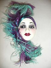 Unique Creations Handcrafted Ceramic Woman Mask Purple and Teal Feathers