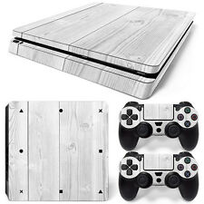 Sony PS4 Playstation 4 Slim Skin Aufkleber Schutzfolie Set - White Wood Motiv