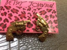 Great Gift Betsey Johnson Golden Gun Pistol Stud Earrings