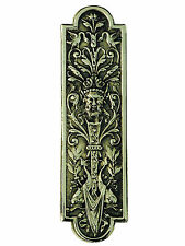 "10"" Brass Green Man Fingerplate – vintage finger plates period door push plate"