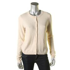 Sutton Cashmere 7706 Womens Tan Cashmere Crew Neck Cardigan Sweater Top M BHFO