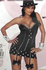 PLAYBOY SEXY GANGSTER HALLOWEEN COSTUME DRESS LINGERIE ADULT WOMEN'S LARGE 14-16