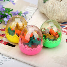 1 set of Lot Tiny Dinosaurs Pencil Eraser in Egg Collectibles Stationery Toys I1