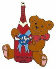 Hard Rock Cafe YOKOHAMA 2000 CHRISTMAS PIN Teddy Bear w/Champagne Bottle #10618