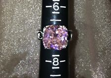 "Pretty in Pink Sapphire Crystal Size 7 Ring ""Cushion Shape"""