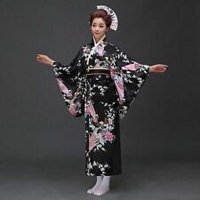 Japanese Kimono Vintage Yukata Haori Costume Retro Geisha Dress Obi Cosplay New