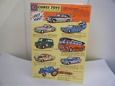 "Corgi Catalogue: ""1962 - U.K. Edition - 4 Page Catalogue with Price List"""