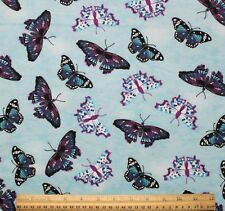 SNUGGLE FLANNEL*BLUE & PURPLE BUTTERFLIES on SKY BLUE Cotton Fabric* NEW *BTY