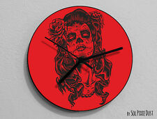 Red Sugar Skull - Day of the Dead -Dia de Los Muertos - Calavera - Wall Clock