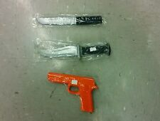 Rubber Gun and 2 Knife Set for Martial Arts Training Defense and Police Practice