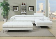White Bonded Leather 2pc Sectional Sofa Chaise Modern Extra Lounge Space Couch