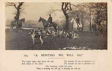 Hunting Men on Horseback Dogs Real Photo Antique Postcard J58324