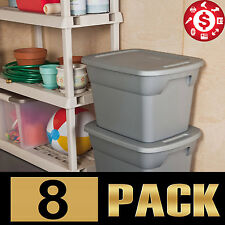 8 Large Plastic Tote Storage 18 GALLON Bin Container Stackable Box with Lids Set