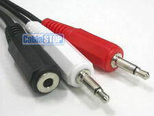 3.5mm Stereo Socket to 2 Twin Mono Left Right Splitter Red White Male Plugs 1.5m