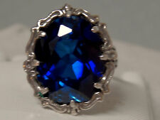 blue 12ct sapphire filigree antique 925 sterling silver ring size 8 USA