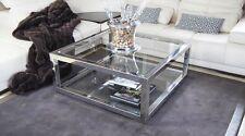 Couchtisch Spiegelglanz hochglanzpolierte Edelstahl 2 Glasplatten PURO SIMPLE