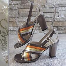 VINTAGE 60's METALLIC MOD AUTUMN SHOES DESIGNER LEATHER HEELS 7 R FERRAGAMO