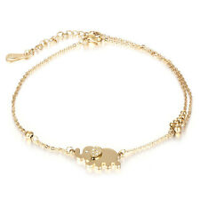Fashion Women Charm Rhinestone Gold Elephant Chain Bracelet Jewelry Gift New