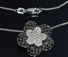 Beautiful 18 CT ORO BIANCO 1.50ct Nero e Diamante Naturale Fiore Ciondolo grappolo