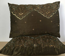 2 Decorative Brown Beaded Sequin Abstract Asian Indian Fabric Throw Pillows