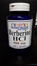 Berberine HCI 900mg 180 Caps Depression,Cholesterol,Heart 3 Month Supply