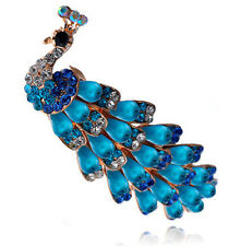 Turquoise Rainbow Pearls & Rhinestones Peacock Hair Barrette Accessories HA156
