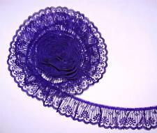 PURPLE~2 Inch Wide Ruffled Candlewick Lace Trim~By 5 Yards