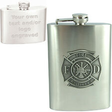 8oz Custom Engraved Hip Flask w/ Fire Fighter Emblem - Your Text - Stainless
