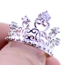 Silver tone cutout crown / tiara ring with crystal, UK Size N