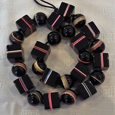 ** HUGE** SIGNED SOBRAL CHUNKY BLACK & MULTICOLOUR CUBE & ROUND BEAD NECKLACE