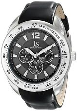 Men's Joshua & Sons JS-45-GY Multifunction Tachyemeter Black Leather Watch