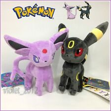 "2X Pokemon Espeon and Umbreon Plush Soft Toy Stuffed Animal Cuddly Figure 9"" NEW"