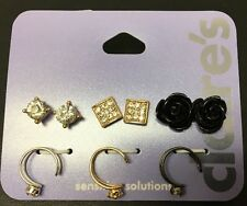 Set of 6 Pairs Black and Gold Mix Studs & Cuff Earrings New Claire's
