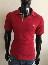 Burberry Brit Short Sleeve Red Pique Polo Shirt Size L w/ Plaid Collar