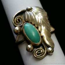 ESTATE JEWELRY .925 STERLING SILVER AND TURQUOISE RING
