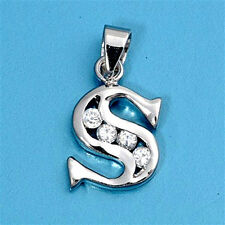 Alphabet CZ Pendants Sterling Silver 925 Initial Choices A to Z Jewelry Letter S