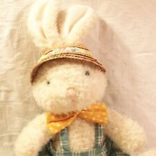 Easter Bunny Rabbit Stuffed Animal Plaid Bow Tie Hat Easter Basket Toy