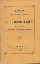 Francesco di Sales: Massime ricavate dalle opere   1885