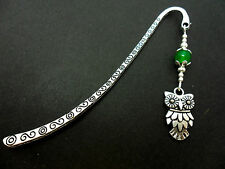A TIBETAN SILVER & GREEN JADE BEAD OWL THEMED BOOKMARK. NEW.