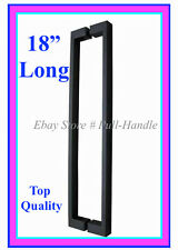 """Square Pull Long Door Handle 18"""" Long Entry Pulls Stainless Steel Entrance Black"""