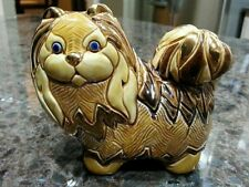 Vintage Pomeranian Figurine with Gold Accents