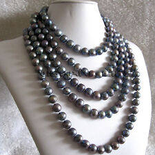 100 inches 10-12mm Dark Gray Freshwater Pearl Strand Necklace Jewelry
