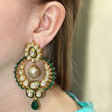 Emerald Gemstone Beaded Pearl 18k Gold 5.28ct Diamond Dangle Chandelier Earrings