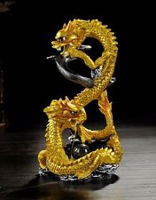 Handmade resin Backflow incense burner  Double Chinese Golden dragon Play Pearl