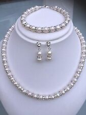 FRESHWATER PEARL & DIAMANTE WEDDING JEWELRY SET STERLING SILVER HANDMADE DESIGN