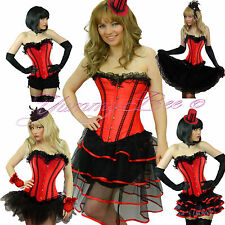 Burlesque Corset Tutu Fancy Dress Costume Plus Size 6-28 Moulin Can Hen Night UK