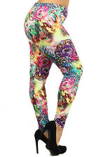 Plus Size Leggings XL-2X Polyester Spandex ALWAYS Floral Animal Abstract Print