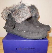 NEW MADDEN GIRL Grey FINNN Faux Fur Ankle BOOTS Shoes WOMENS size 9.5