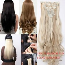 100% real Natural Full Head Clip in Hair Extensions 18 clips on colors to choose